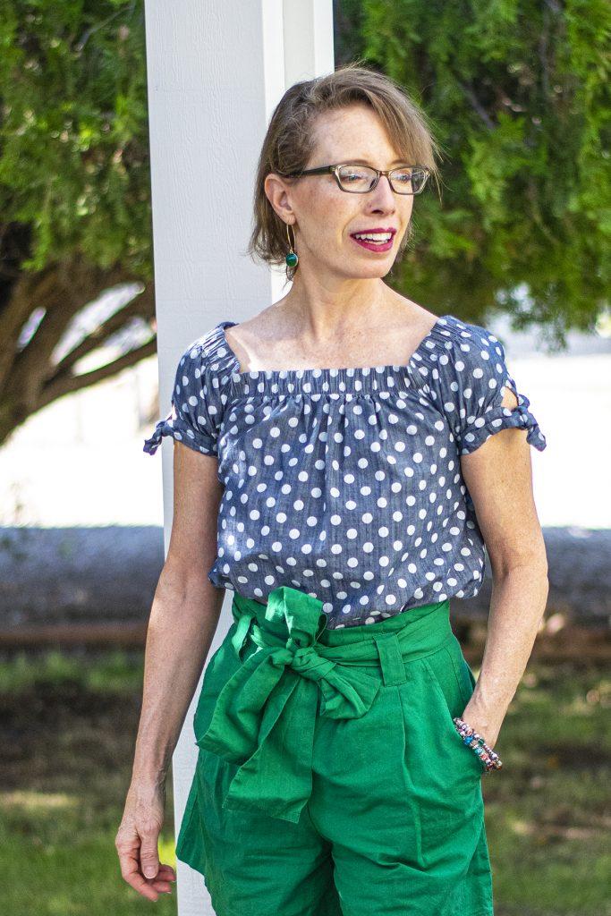Green paper bag shorts