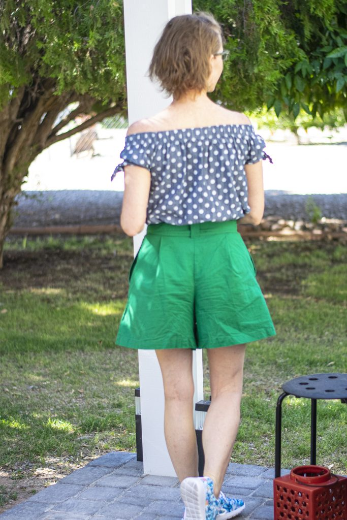 Paper bag pants outfit with top tucked