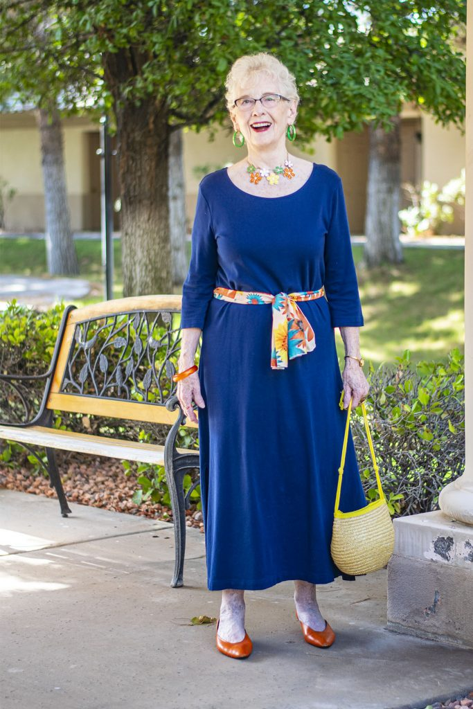 Adding color to a maxi with a scarf as a belt