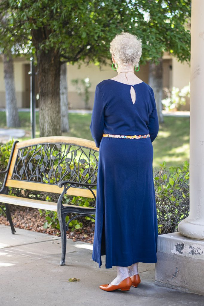 Maxi dress with a scarf as a belt