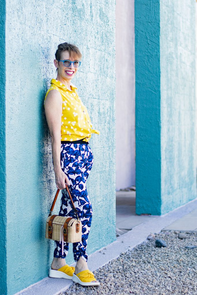Mixing prints in fashion with bright colors