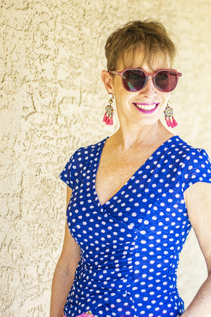 Polka dot blue top