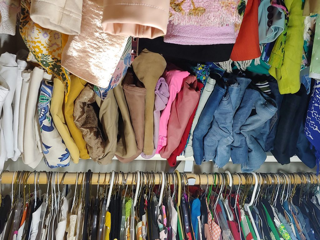 Folding jeans as closet tour