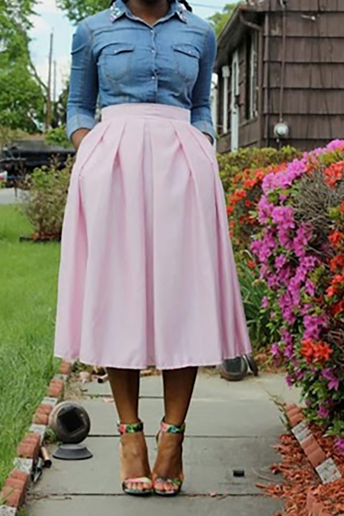 How not to look frumpy in a pink skirt
