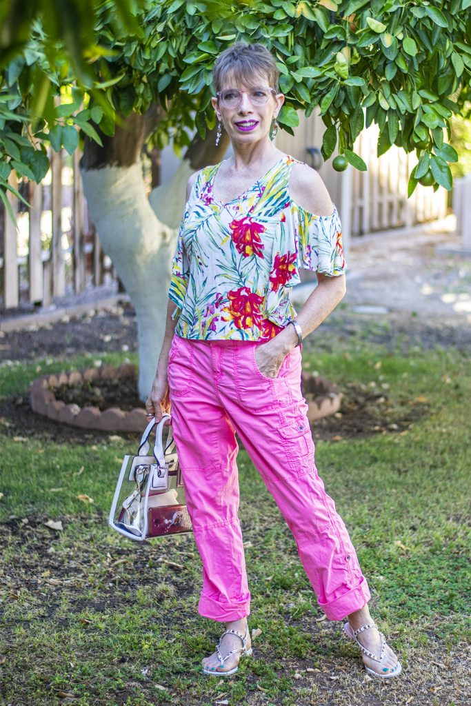 Wearing a print with neon pants