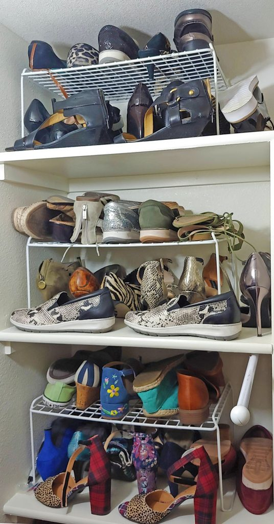 Shoe organization for closet tour