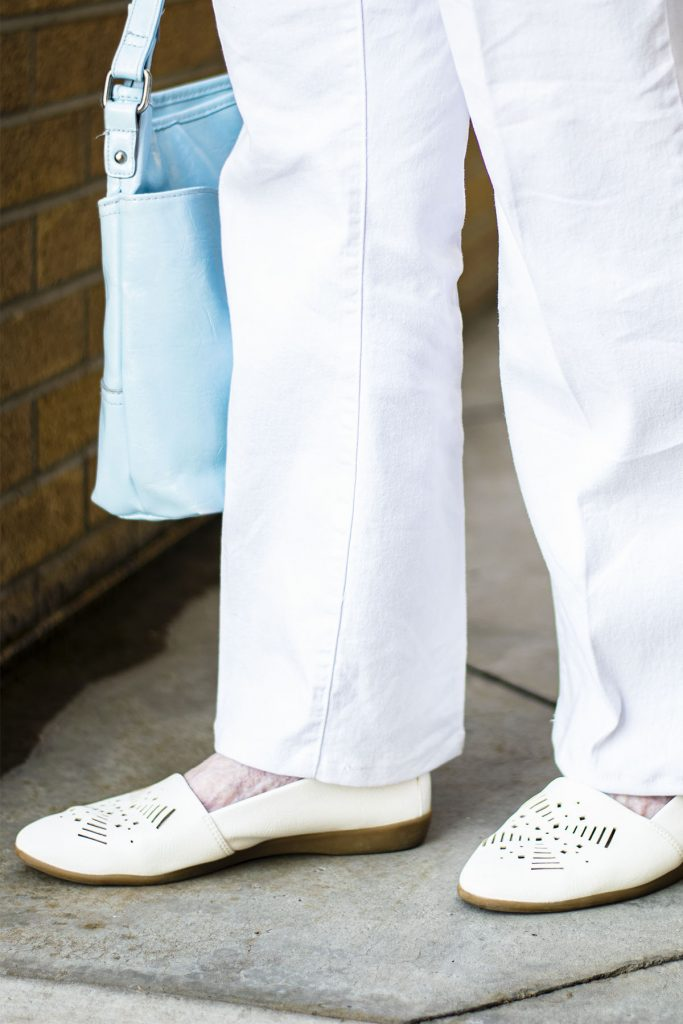White pants and shoes