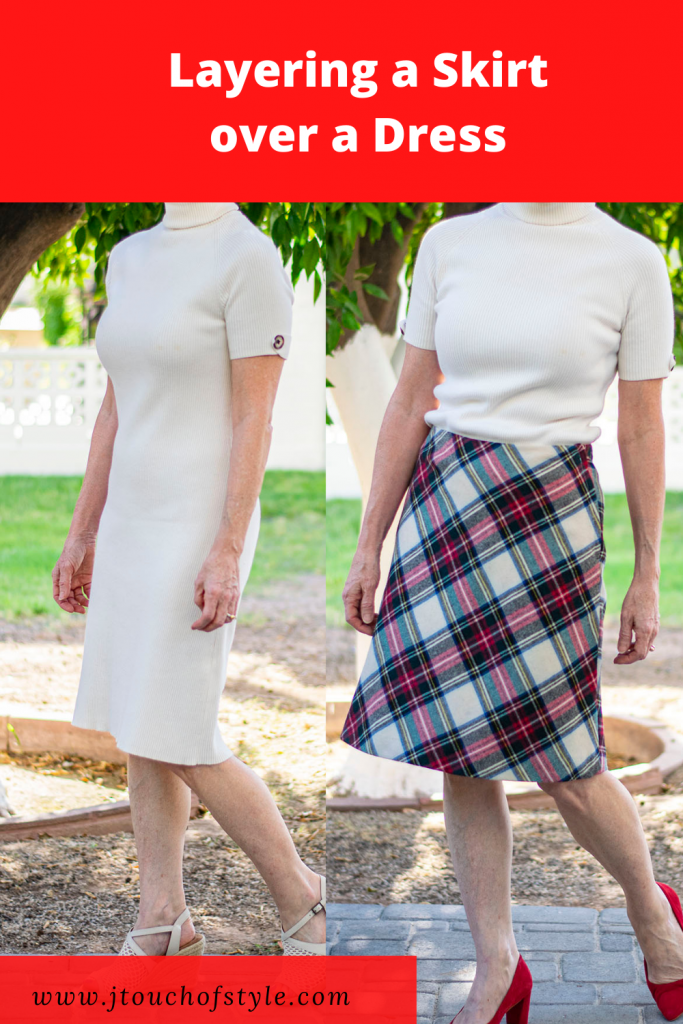 Layering a skirt over a dress