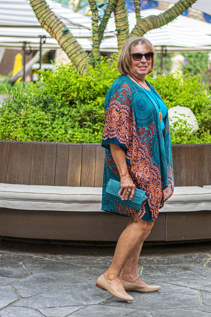 Fall transition outfits with a kimono