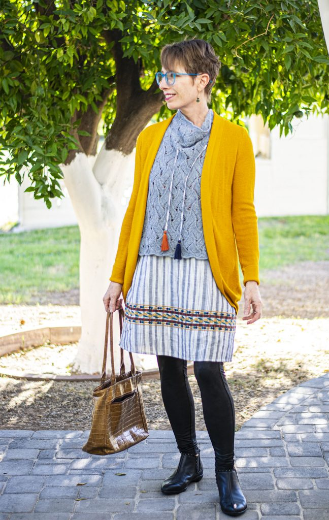 Leggings and tunic for wearing a summer dress in winter