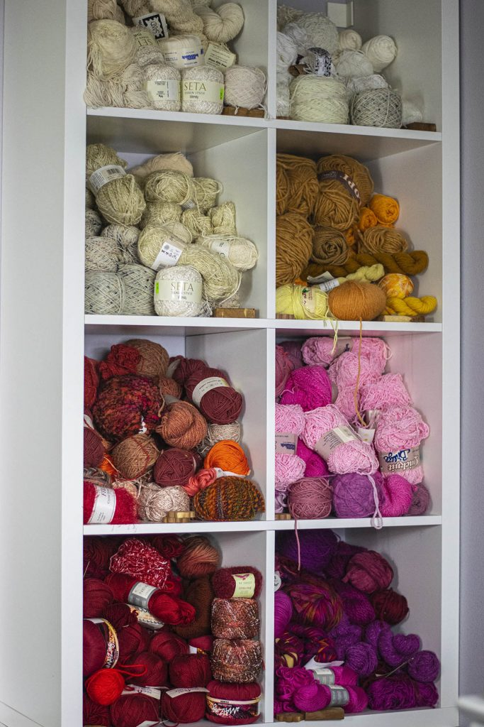 Color coordinated yarn storage