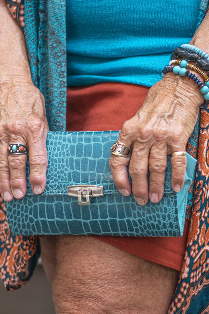Turquoise clutch and jewelry