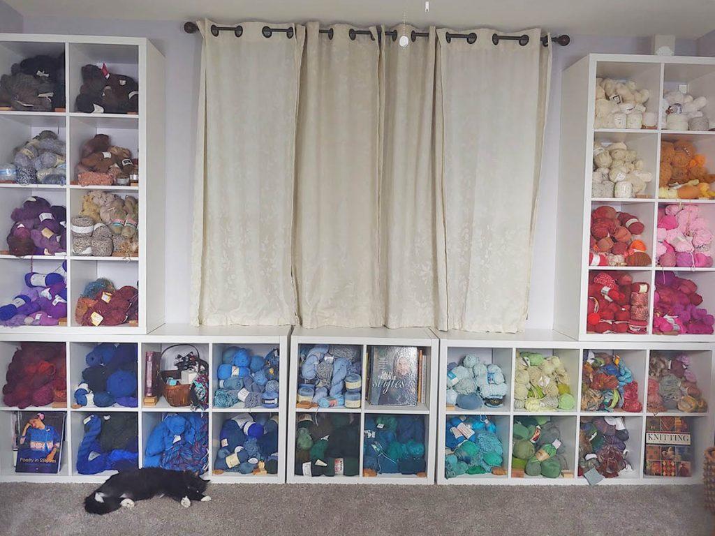 Yarn storage in the guest bedroom