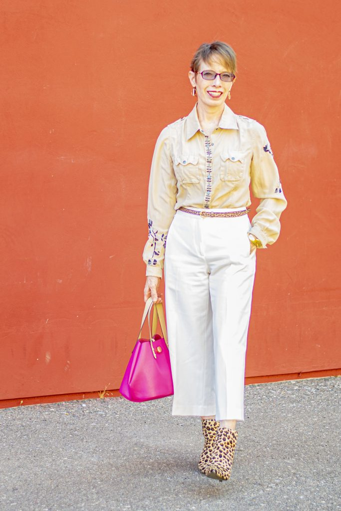 White wide leg pants with a blouse