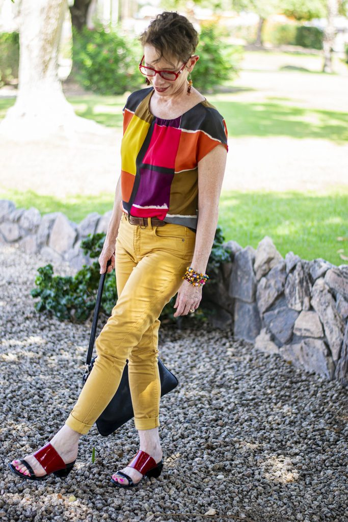 Adding a print in with mustard yellow jeans