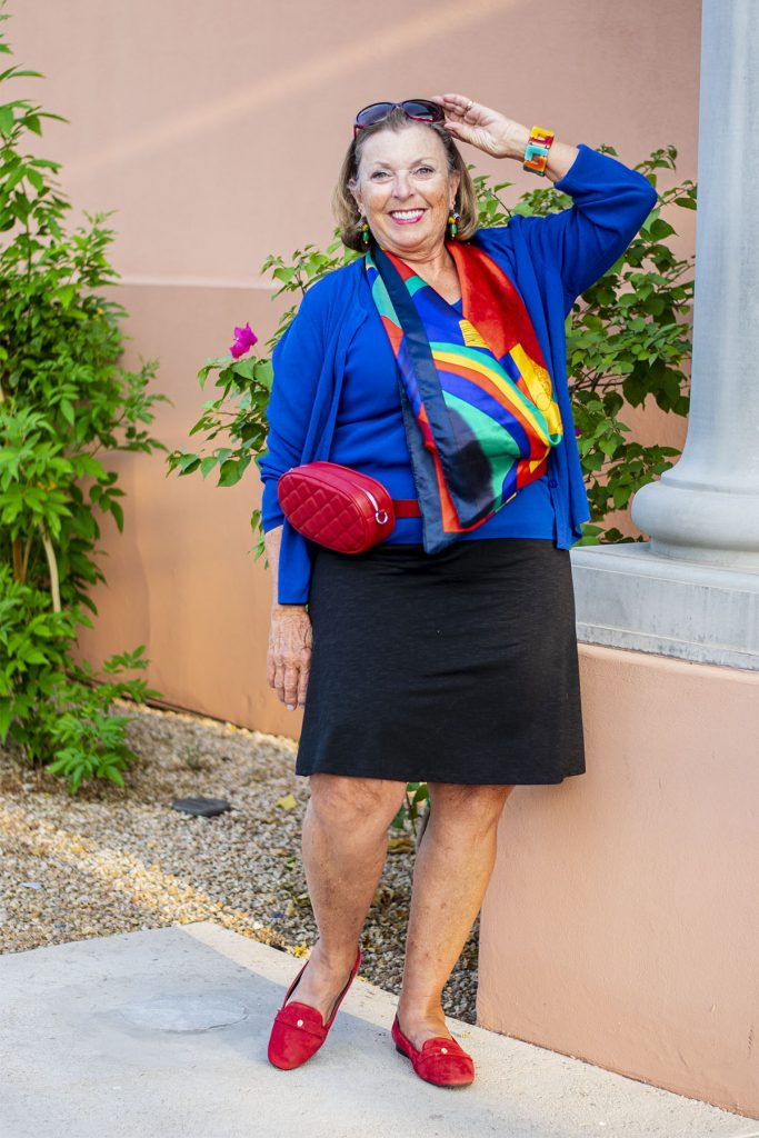 Woman over 70 in flattering colors