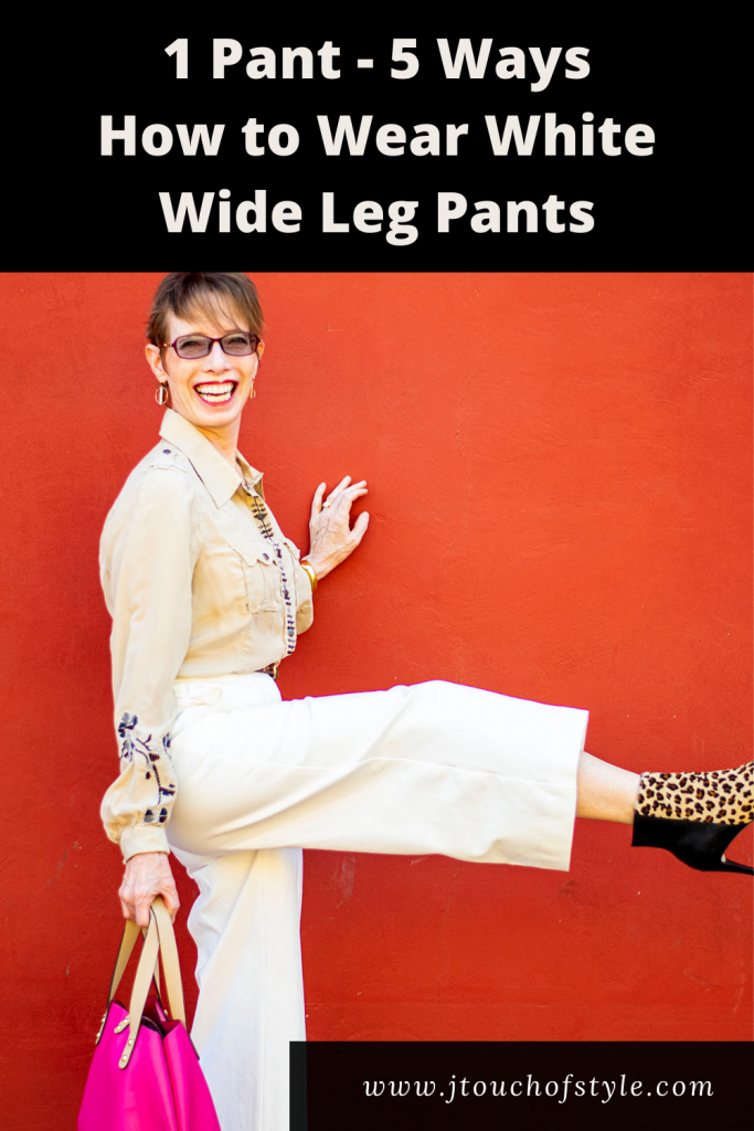 1 pant-5 ways How to wear white wide leg pants