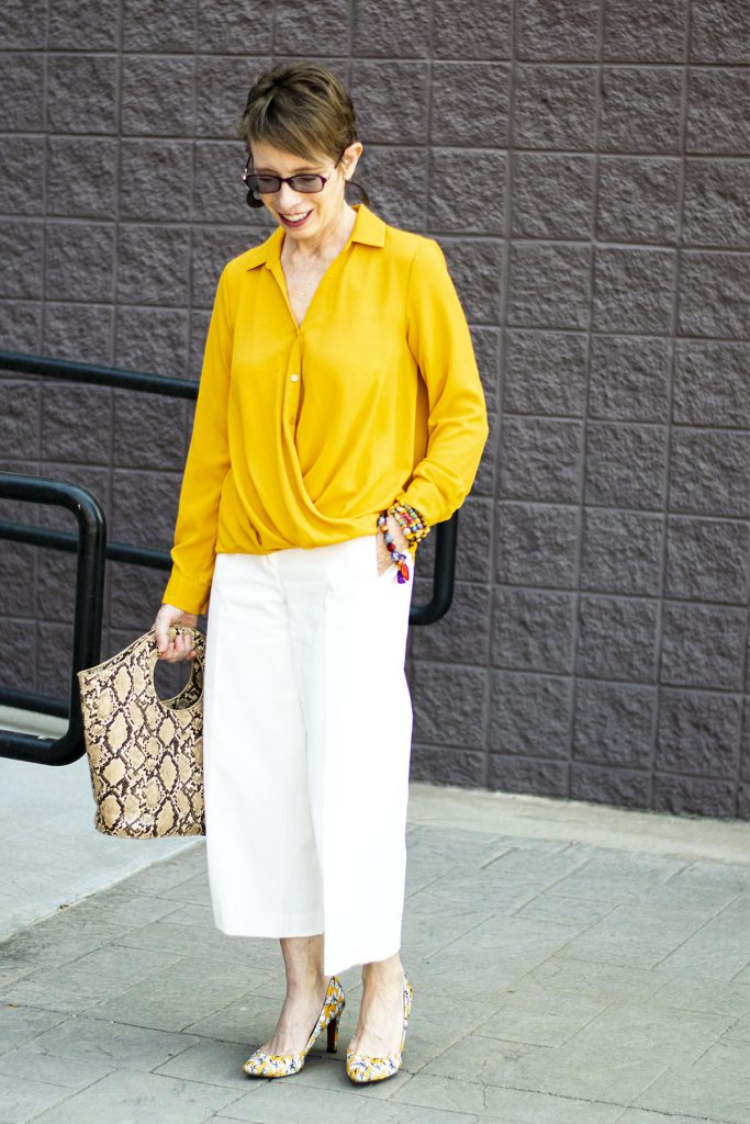 Blouse untucked with cropped pants