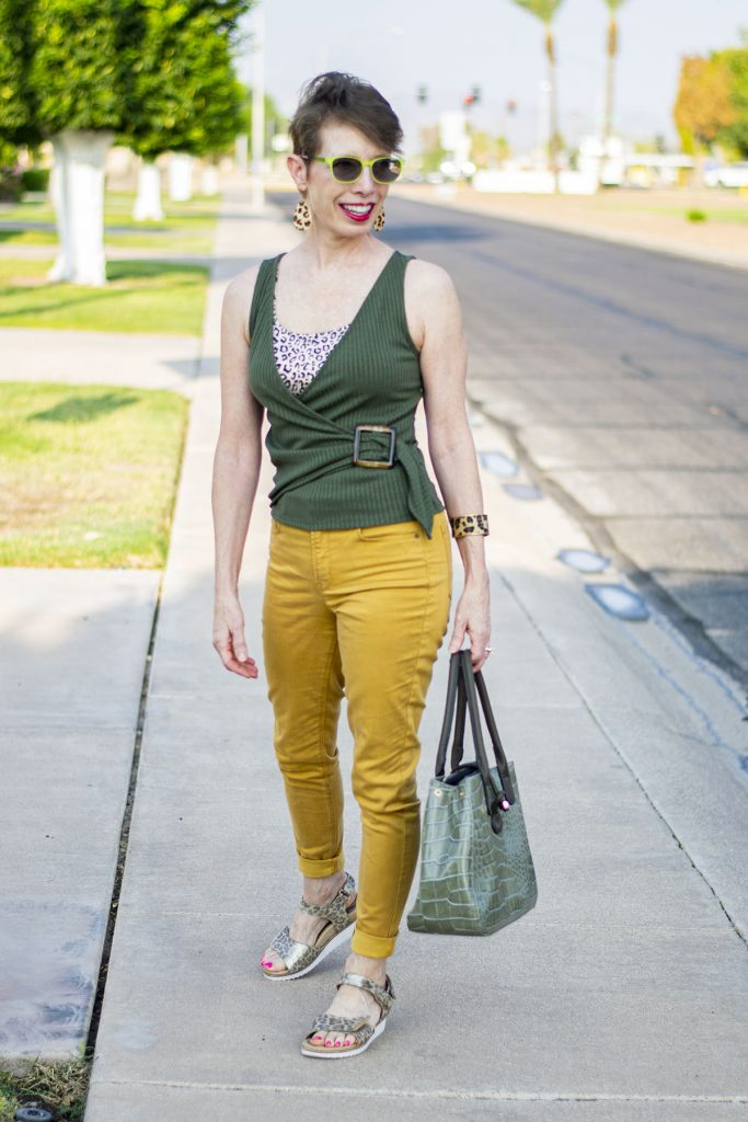 Dark color with mustard yellow jeans
