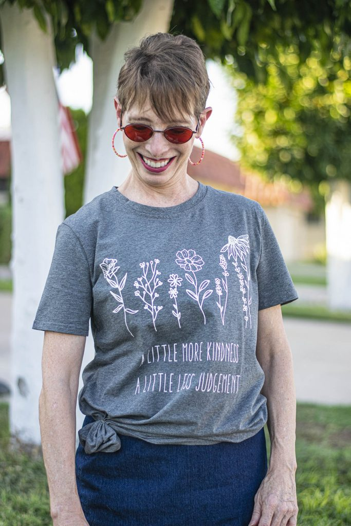 Wearing graphic tees for women over 50