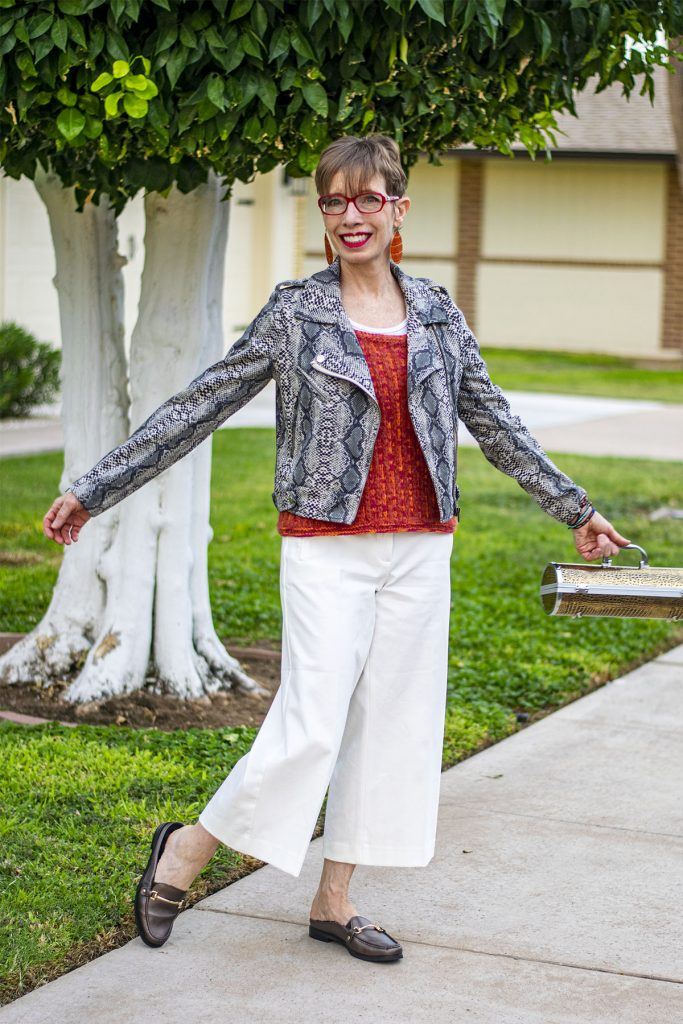White wide leg pants with a jacket