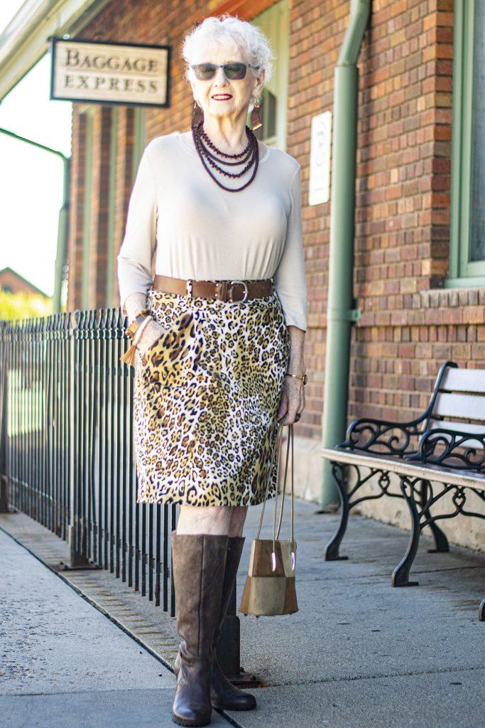 Stylish outfit with knee high boots for fall