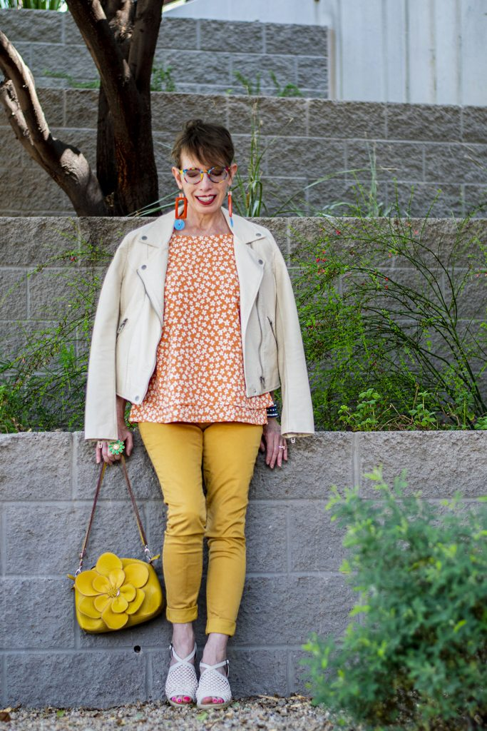 Warm colors with mustard yellow jeans