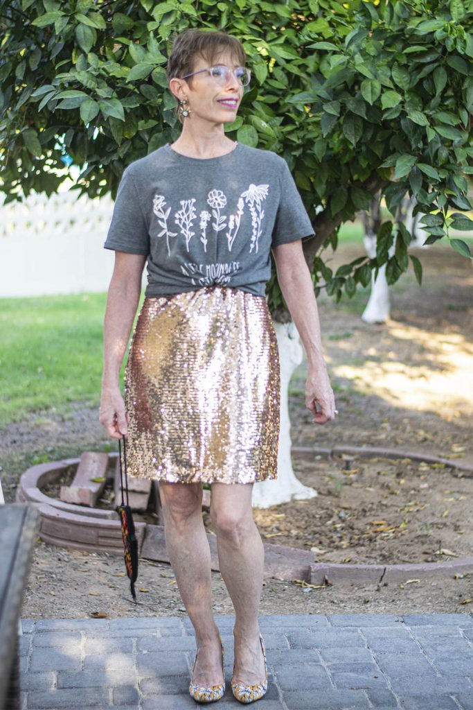 Wearing graphic tees over a dress