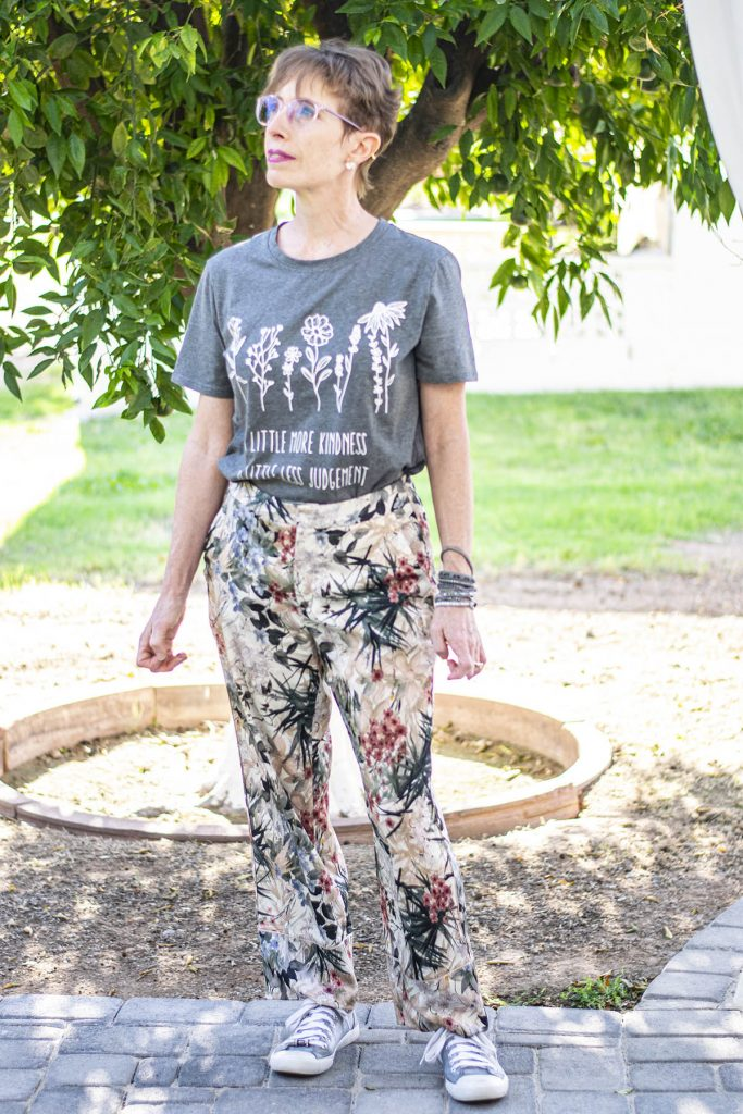Silk pants and graphic tee
