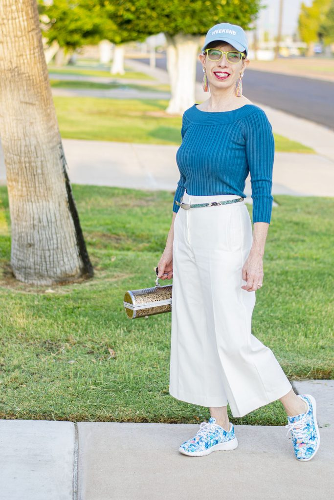 White wide leg pants with a sweater