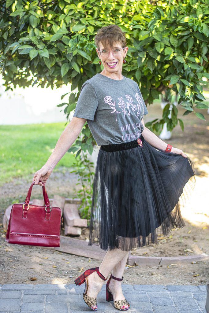 Wearing graphic tees with a tulle skirt