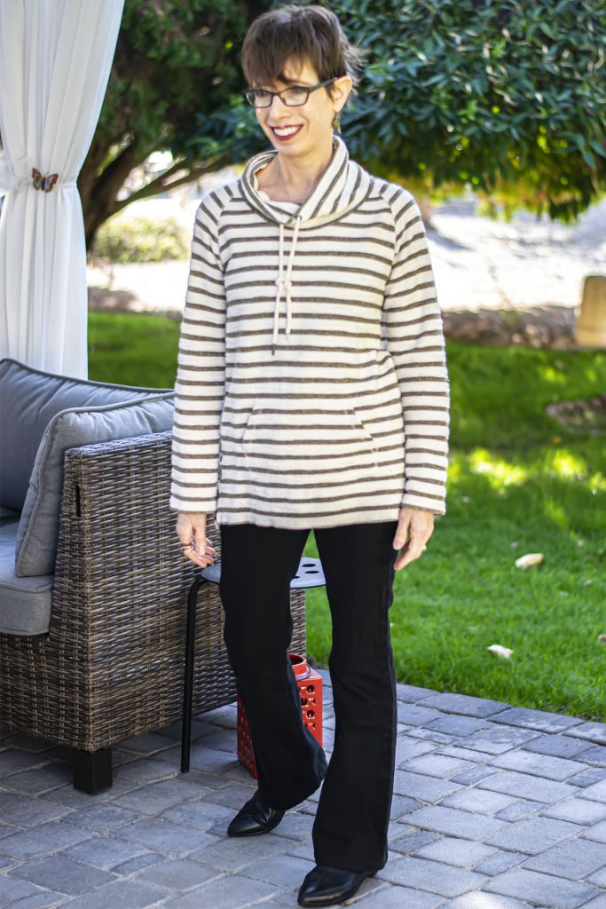 Wearing a tunic with bootcut jeans