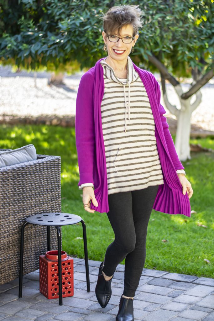 Wearing a tunic with a cardigan