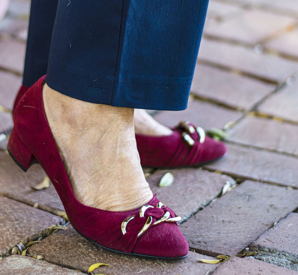 Cranberry colored shoes