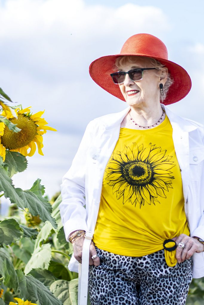 Sunflower t-shirt with white jean jacket outfit