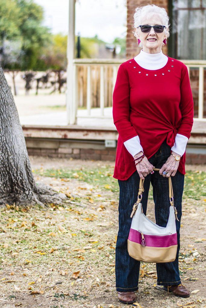 Side tuck shirt for older women