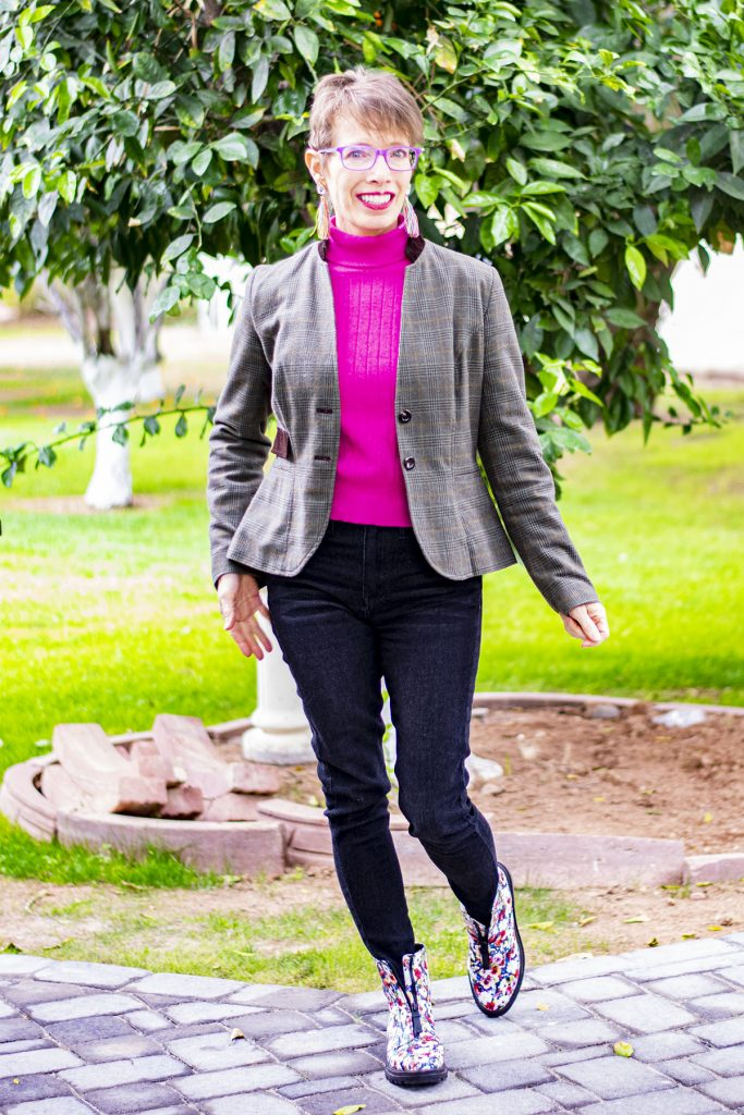 Jeans and combat boots with a blazer