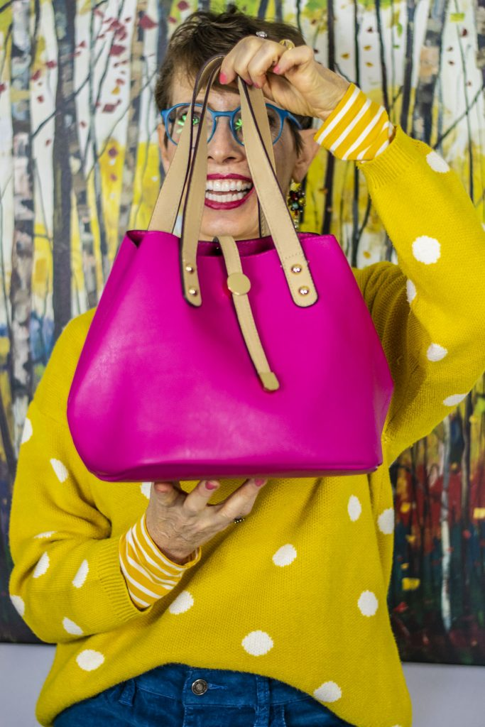 Fun with handbag color for an outfit
