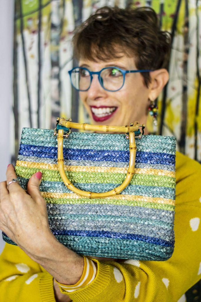 Blue straw purse