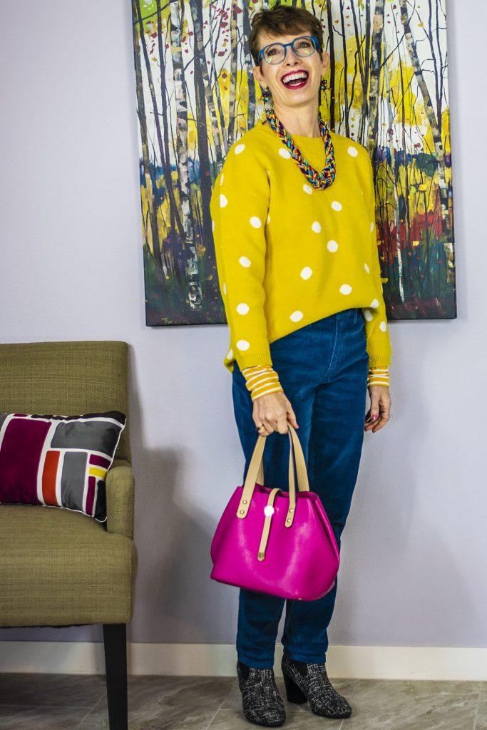 Handbag color to brighten a look