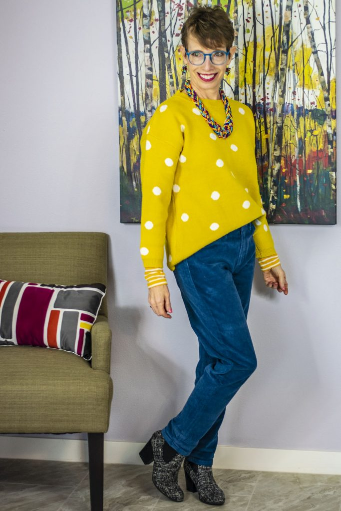 Colorful outfit for women over 50