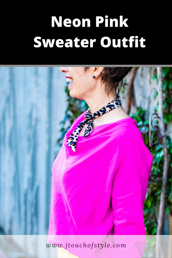 Neon pink sweater outfit
