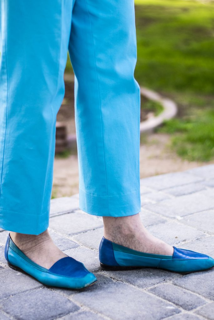 Blue flats as shoes to wear with ankle pants