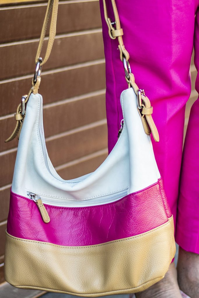 Pink color blocked purse