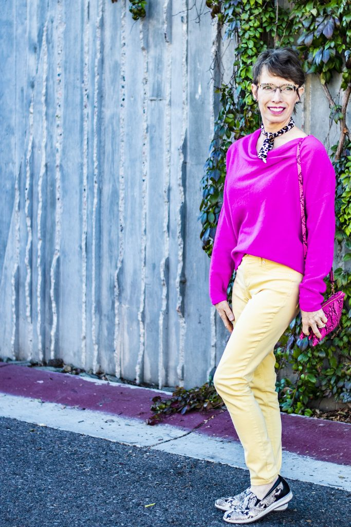 Adding animal print with a neon pink sweater outfit