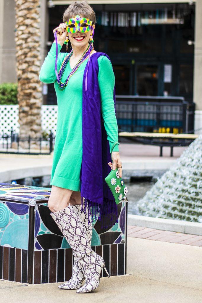 Green dress for Mardi Gras colors