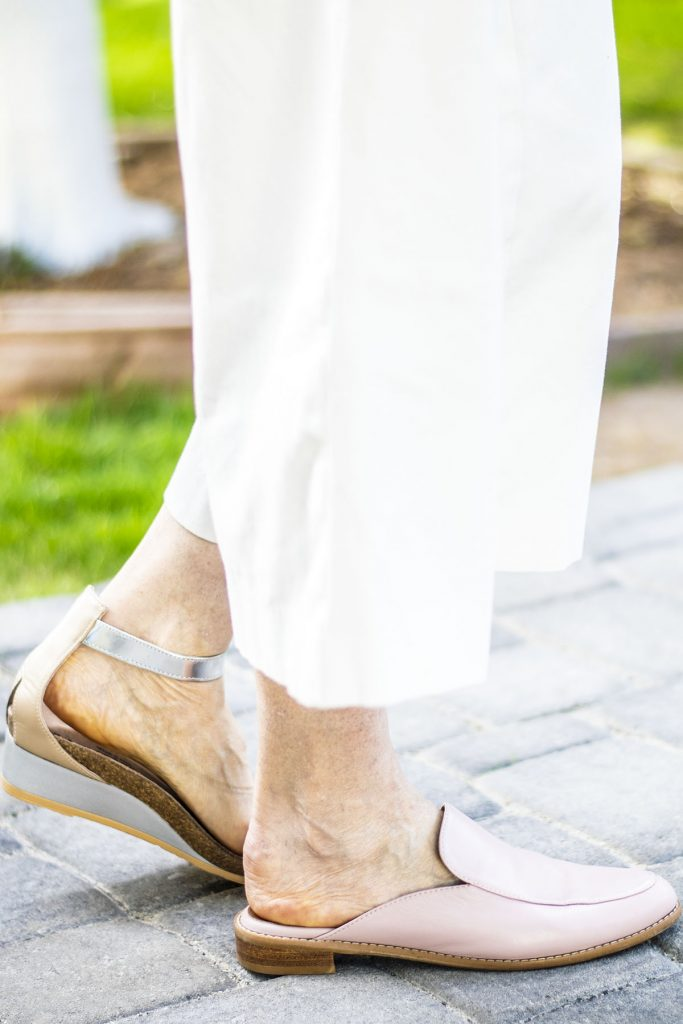 Blush shoes as mules and sandals