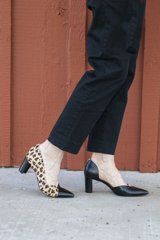 Leopard shoes and black pants