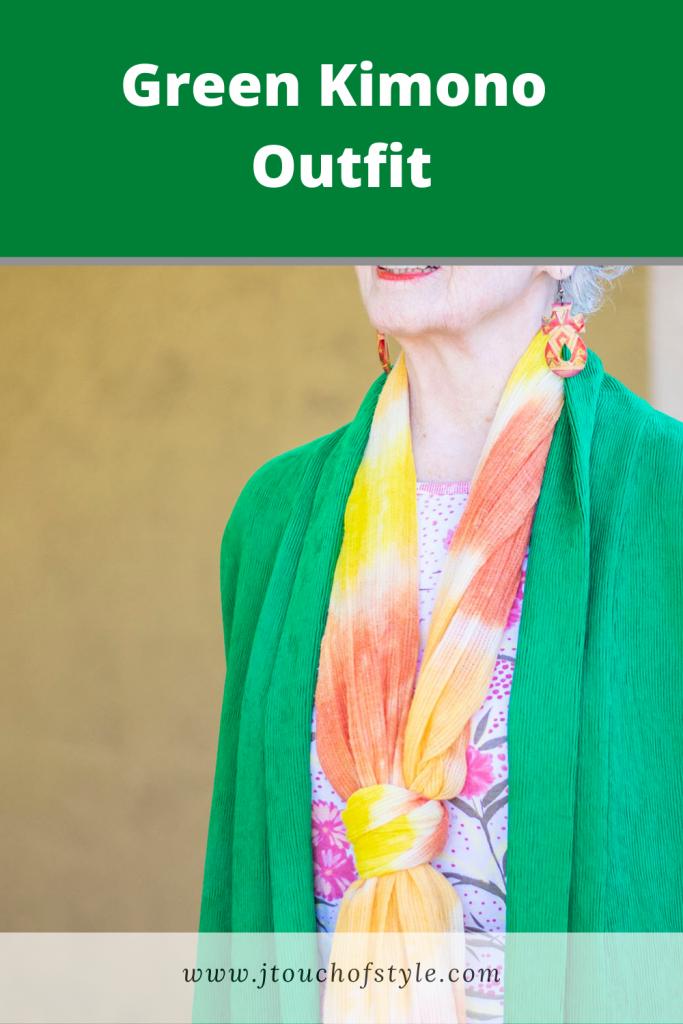 Green kimono outfit