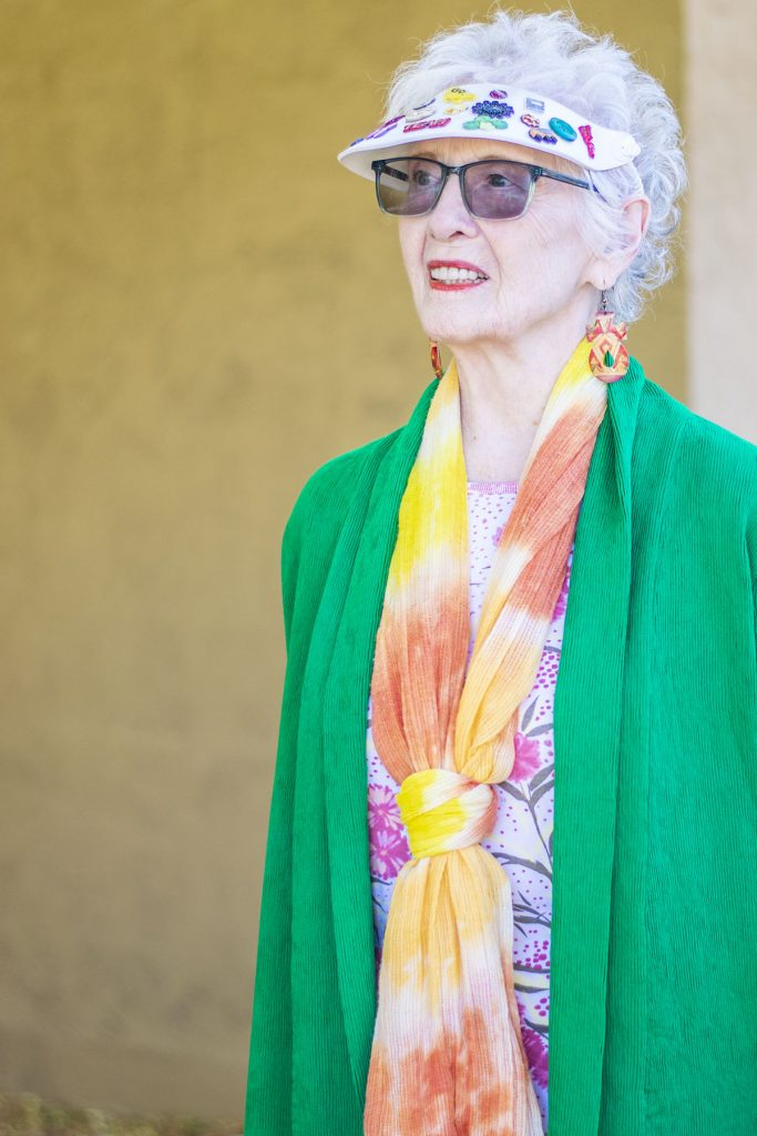 Older woman with green kimono outfit